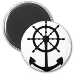 black steering wheel anchor icon refrigerator magnets