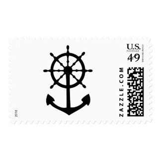 black steering wheel anchor icon stamp