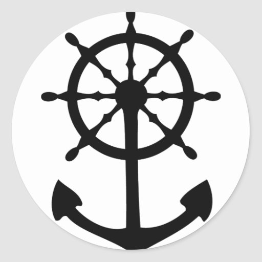 black steering wheel anchor icon stickers