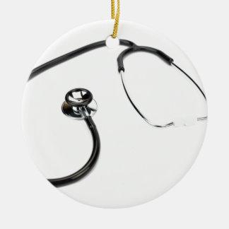 Black stethoscope isolated on white background ceramic ornament