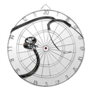 Black stethoscope isolated on white background dartboard