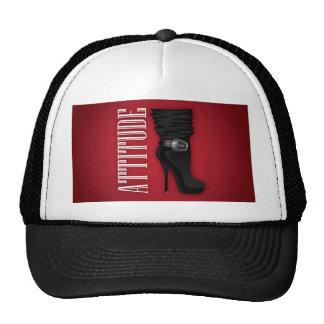 Black Stiletto boots with Attitude Trucker Hat