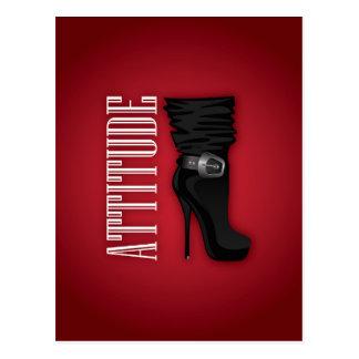 Black Stiletto boots with Attitude Postcard