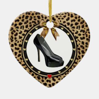 Black Stiletto Cheetah Custom Heart Ornament