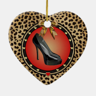Black Stiletto Cheetah Heart Ornament