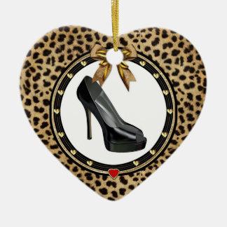 Black Stiletto Cheetah Personalized Heart Ornament