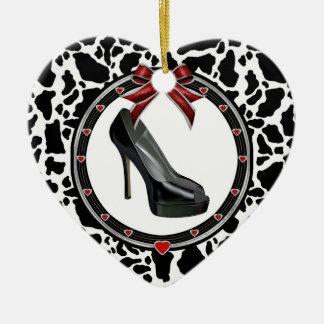 Black Stiletto Cow Personalized Heart Ornament