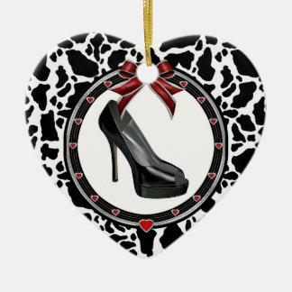 Black Stiletto Cow Print Custom Heart Ornament