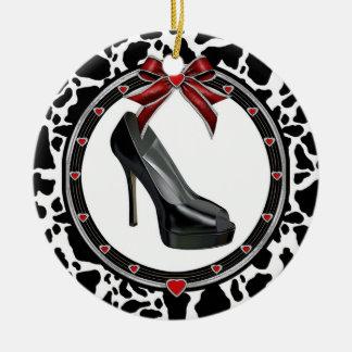 Black Stiletto Cow Print Custom Ornament