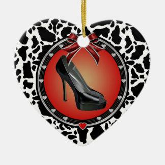 Black Stiletto Cow Print Heart Ornament