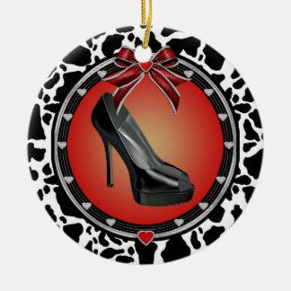 Black Stiletto Cow Print Ornament