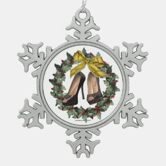 Black Stiletto Crocodile Snowflake Ornament