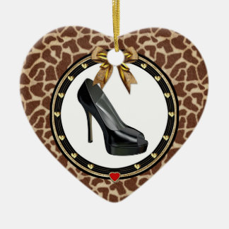 Black Stiletto Giraffe Custom Heart Ornament