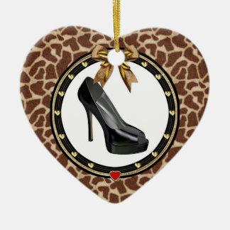 Black Stiletto Giraffe Personalized Heart Ornament