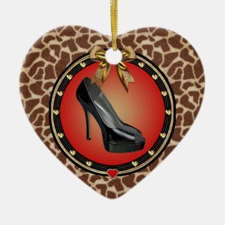 Black Stiletto Giraffe Print Heart Ornament