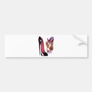 Black Stiletto High Heel Shoe and Bouquet Bumper Sticker