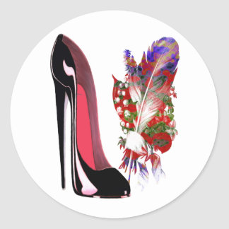 Black Stiletto High Heel Shoe and Bouquet Classic Round Sticker