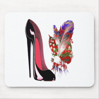 Black Stiletto High Heel Shoe and Bouquet Mouse Pad