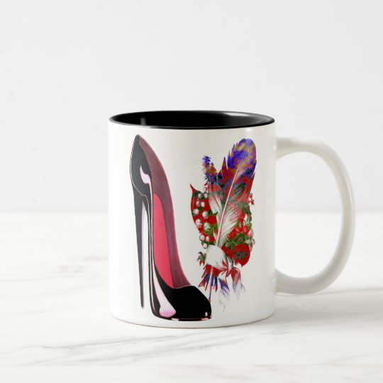 Black Stiletto High Heel Shoe and Bouquet Two-Tone Coffee Mug