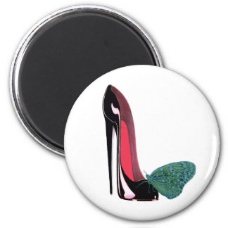 Black Stiletto High Heel Shoe and Green Butterfly 2 Inch Round Magnet