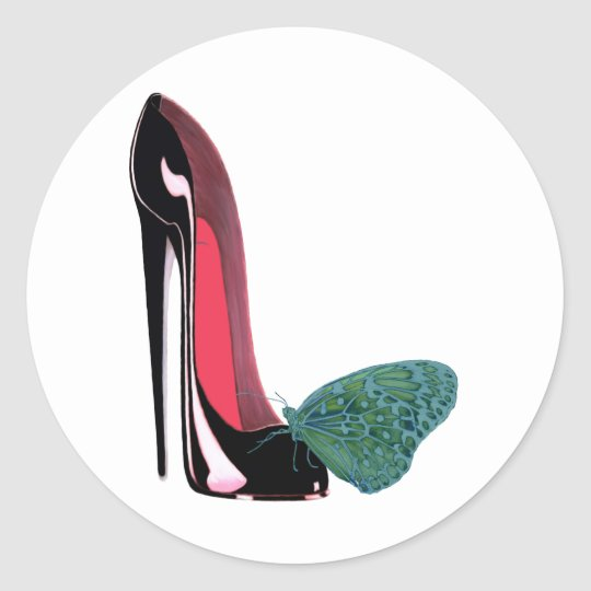 Black Stiletto High Heel Shoe and Green Butterfly Classic Round Sticker