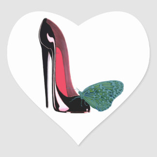 Black Stiletto High Heel Shoe and Green Butterfly Heart Sticker