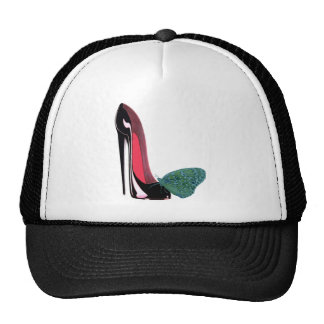 Black Stiletto High Heel Shoe and Green Butterfly Trucker Hat