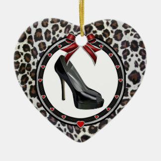 Black Stiletto Leopard Print Custom Heart Ornament