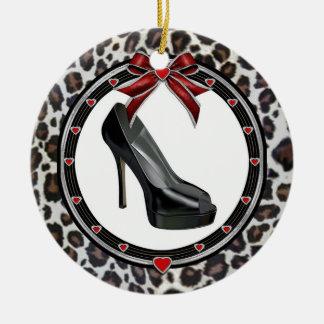 Black Stiletto Leopard Print Custom Ornament