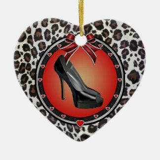 Black Stiletto Leopard Print Heart Ornament