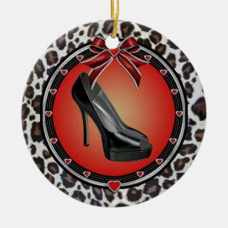 Black Stiletto Leopard Print Ornament