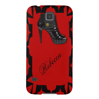 Black Stiletto on Red Galaxy S5 Covers