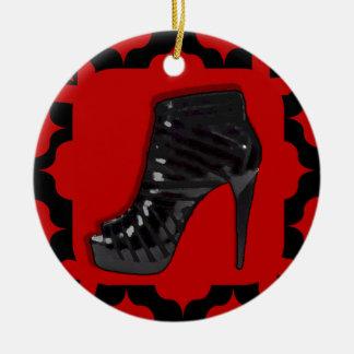Black Stiletto on Red Christmas Tree Ornament