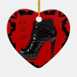 Black Stiletto on Red Christmas Tree Ornaments
