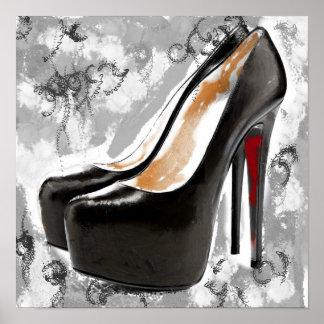 Black Stiletto Red Bottom Heels Poster