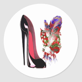 Black Stiletto Shoe and Bouquet Classic Round Sticker