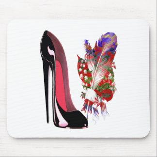 Black Stiletto Shoe and Bouquet Mouse Pad