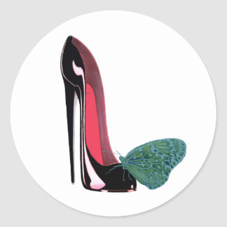 Black Stiletto Shoe and Butterfly Classic Round Sticker