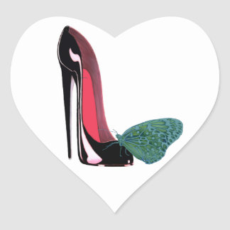 Black Stiletto Shoe and Butterfly Heart Sticker