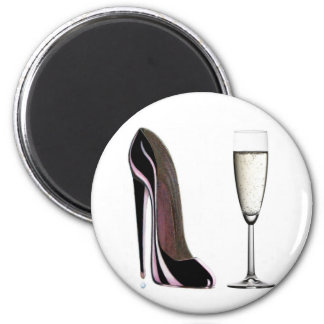 Black Stiletto Shoe and Champagne Glass 2 Inch Round Magnet