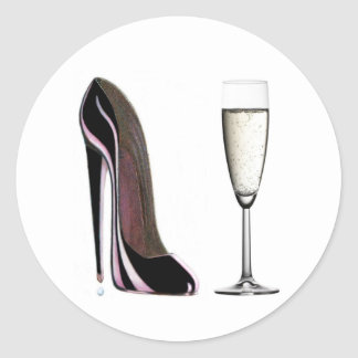 Black Stiletto Shoe and Champagne Glass Classic Round Sticker