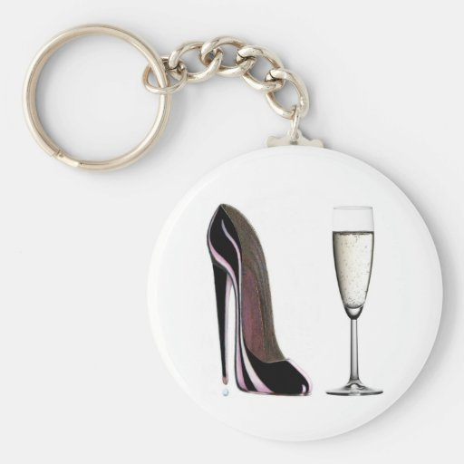 Black Stiletto Shoe and Champagne Glass Keychains