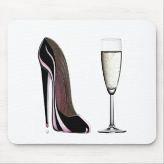 Black Stiletto Shoe and Champagne Glass Mouse Pad