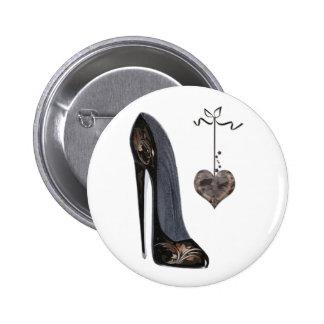 Black stiletto shoe and heart 2 inch round button
