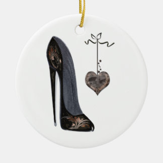 Black Stiletto Shoe and Heart Art Ceramic Ornament