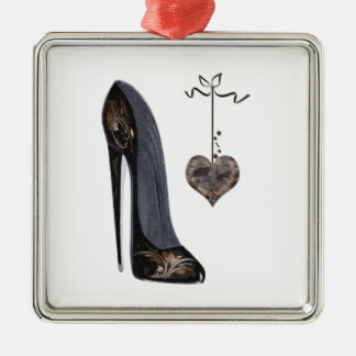 Black Stiletto Shoe and Heart Art Metal Ornament