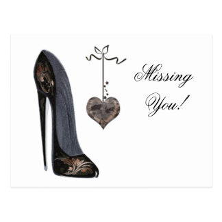 Black Stiletto Shoe and Heart Art Post Cards