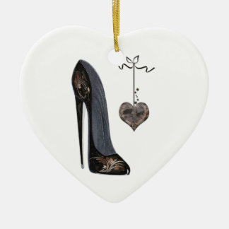Black Stiletto Shoe and Heart Ceramic Ornament