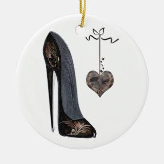 Black Stiletto Shoe and Heart Ceramic Ornament