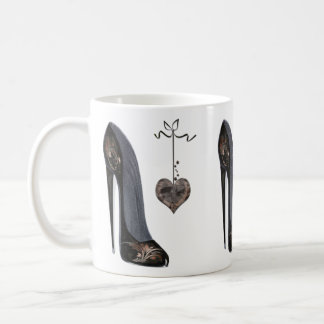 Black Stiletto Shoe and Heart Coffee Mug